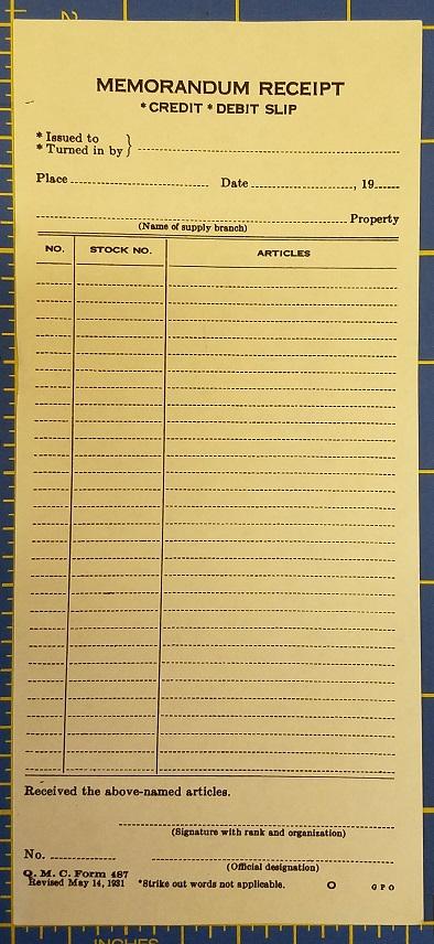 memorandum receipt  u2013 credit  u2013 debit slip  u2013 service of supply
